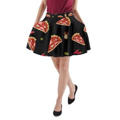 Pizza Slice Patter A Line Pocket Skirt by Valentinaart