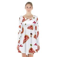 Pizza Pattern Long Sleeve Velvet V Neck Dress by Valentinaart