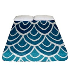 Blue fish scale Fitted Sheet (Queen Size)
