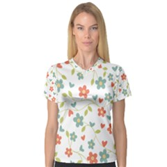 Abstract Vintage Flower Floral Pattern Women s V Neck Sport Mesh Tee