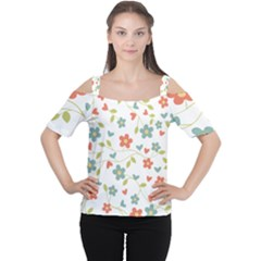 Abstract Vintage Flower Floral Pattern Women s Cutout Shoulder Tee by Amaryn4rt