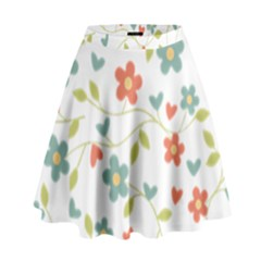 Abstract Vintage Flower Floral Pattern High Waist Skirt by Amaryn4rt