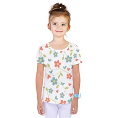 Abstract Vintage Flower Floral Pattern Kids  One Piece Tee by Amaryn4rt