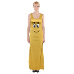 Smiling Face With Open Eyes Maxi Thigh Split Dress by sifis