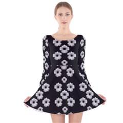 Dark Floral Long Sleeve Velvet Skater Dress by dflcprintsclothing