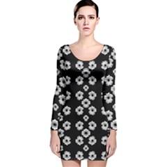 Dark Floral Long Sleeve Velvet Bodycon Dress by dflcprintsclothing
