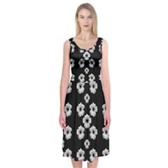Dark Floral Midi Sleeveless Dress by dflcprintsclothing