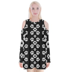 Dark Floral Velvet Long Sleeve Shoulder Cutout Dress by dflcprintsclothing