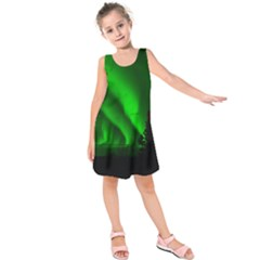 Aurora Borealis Green Kids  Sleeveless Dress