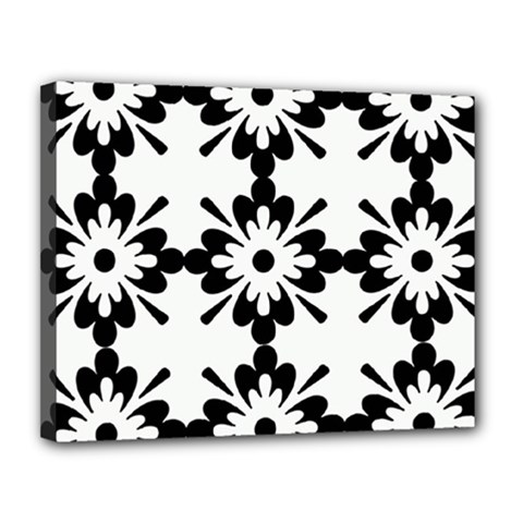 Floral Illustration Black And White Canvas 14  X 11  by Amaryn4rt