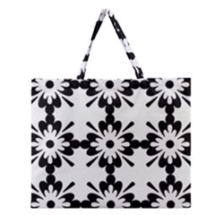 Floral Illustration Black And White Zipper Large Tote Bag by Amaryn4rt