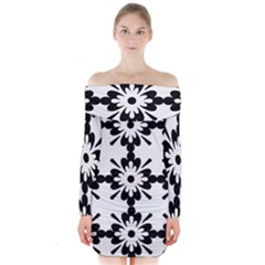 Floral Illustration Black And White Long Sleeve Off Shoulder Dress by Amaryn4rt