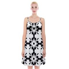Floral Illustration Black And White Spaghetti Strap Velvet Dress