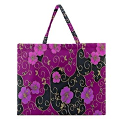 Floral Pattern Background Zipper Large Tote Bag by Amaryn4rt