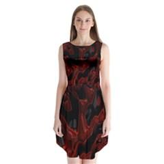 Fractal Red Black Glossy Pattern Decorative Sleeveless Chiffon Dress   by Amaryn4rt