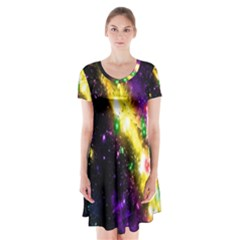 Galaxy Deep Space Space Universe Stars Nebula Short Sleeve V Neck Flare Dress by Amaryn4rt