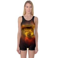 Galaxy Nebula Space Cosmos Universe Fantasy One Piece Boyleg Swimsuit by Amaryn4rt