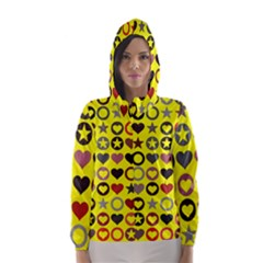 Heart Circle Star Seamless Pattern Hooded Wind Breaker (women) by Amaryn4rt