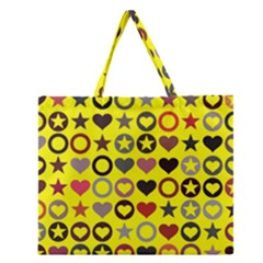 Heart Circle Star Seamless Pattern Zipper Large Tote Bag by Amaryn4rt