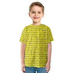 Heart Circle Star Seamless Pattern Kids  Sport Mesh Tee