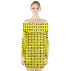 Heart Circle Star Seamless Pattern Long Sleeve Off Shoulder Dress by Amaryn4rt