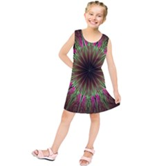Julian Star Star Fun Green Violet Kids  Tunic Dress by Amaryn4rt