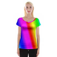 Multi Color Rainbow Background Women s Cap Sleeve Top