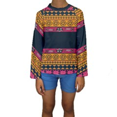 Pattern Ornaments Africa Safari Summer Graphic Kids  Long Sleeve Swimwear by Amaryn4rt