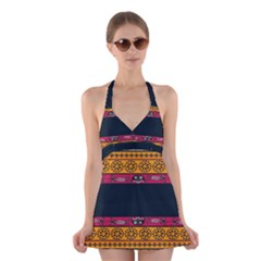 Pattern Ornaments Africa Safari Summer Graphic Halter Swimsuit Dress