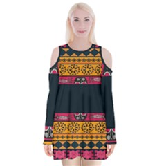 Pattern Ornaments Africa Safari Summer Graphic Velvet Long Sleeve Shoulder Cutout Dress