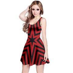 Star Red Kaleidoscope Pattern Reversible Sleeveless Dress
