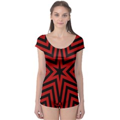 Star Red Kaleidoscope Pattern Boyleg Leotard  by Amaryn4rt