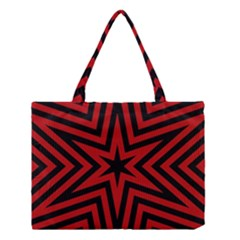 Star Red Kaleidoscope Pattern Medium Tote Bag by Amaryn4rt