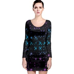 Stars Pattern Seamless Design Long Sleeve Bodycon Dress by Amaryn4rt