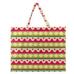 Tribal Pattern Background Zipper Large Tote Bag by Amaryn4rt