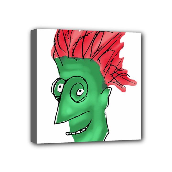 Crazy Man Drawing  Mini Canvas 4  x 4