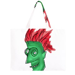 Crazy Man Drawing  Zipper Large Tote Bag