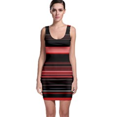 Abstract Of Red Horizontal Lines Sleeveless Bodycon Dress