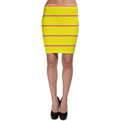 Background Image Horizontal Lines And Stripes Seamless Tileable Magenta Yellow Bodycon Skirt by Amaryn4rt