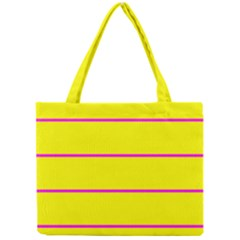 Background Image Horizontal Lines And Stripes Seamless Tileable Magenta Yellow Mini Tote Bag by Amaryn4rt