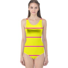 Background Image Horizontal Lines And Stripes Seamless Tileable Magenta Yellow One Piece Swimsuit