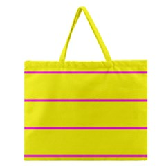 Background Image Horizontal Lines And Stripes Seamless Tileable Magenta Yellow Zipper Large Tote Bag by Amaryn4rt