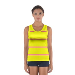 Background Image Horizontal Lines And Stripes Seamless Tileable Magenta Yellow Women s Sport Tank Top  by Amaryn4rt