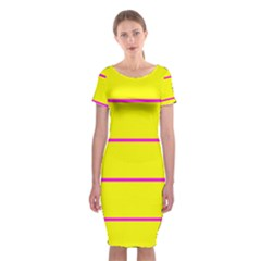 Background Image Horizontal Lines And Stripes Seamless Tileable Magenta Yellow Classic Short Sleeve Midi Dress