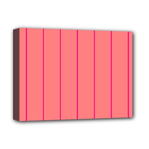 Background Image Vertical Lines And Stripes Seamless Tileable Deep Pink Salmon Deluxe Canvas 16  X 12   by Amaryn4rt