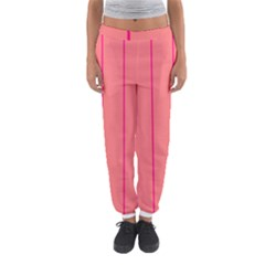 Background Image Vertical Lines And Stripes Seamless Tileable Deep Pink Salmon Women s Jogger Sweatpants by Amaryn4rt