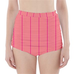 Background Image Vertical Lines And Stripes Seamless Tileable Deep Pink Salmon High-Waisted Bikini Bottoms by Amaryn4rt