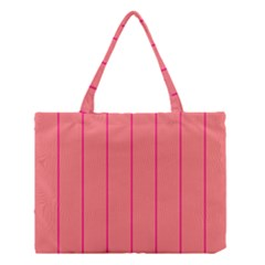 Background Image Vertical Lines And Stripes Seamless Tileable Deep Pink Salmon Medium Tote Bag