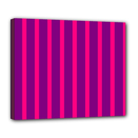 Deep Pink And Black Vertical Lines Deluxe Canvas 24  x 20   by Amaryn4rt