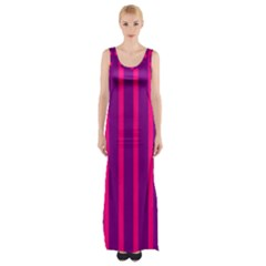 Deep Pink And Black Vertical Lines Maxi Thigh Split Dress by Amaryn4rt